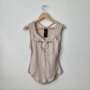 Free People Cream Lace Cutout Knit Tank Top